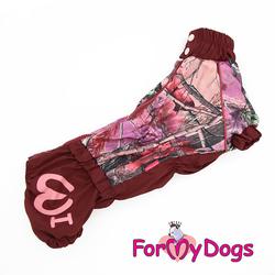 ForMyDogs Дождевик для вельшкорги бордовый, модель для девочки, спина 45см