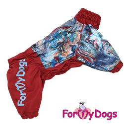 ForMyDogs Дождевик для больших пород собак бордовый/голубой, модель для девочки, размер С3