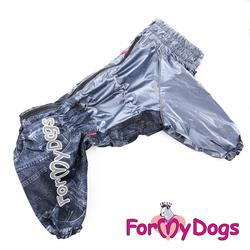ForMyDogs Дождевик для крупных пород собак графит, модель для мальчиков, размер D1