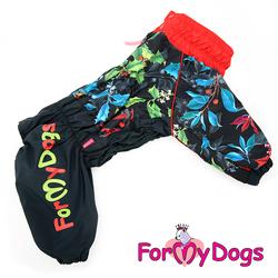 ForMyDogs Дождевик для больших пород собак черно/красный, модель для девочки, размер D2, D3
