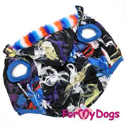 """ForMyDogs Куртка для мопса собак """"Абстракция"""" мультиколор, размер А1"""