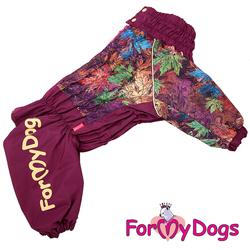 """ForMyDogs Комбинезон для больших собак """"Листья"""" бордовый, модель для девочек, размер С1"""