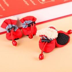 Al1 Ботиночки для собак теплые с мехом красные, размер №1, №2