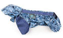ZooAvtoritet Дождевик для французского бульдога/мопса, камуфляж/синий, размер ФР2