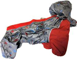 ZooAvtoritet Дождевик для французского бульдога/мопса, серый/бордо, размер ФР2, спина 43-43см