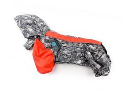 ZooAvtoritet Дождевик для французского бульдога/мопса, серый/оранжевый, размер ФР2, спина 43-43см