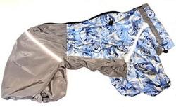 """ZooTrend Дождевик для средних пород собак серо/голубой """"Узоры"""", размер XL, спина 40см"""