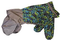 ZooTrend Дождевик для крупных пород собак, синий тетрис, размер 7XL, спина 80см