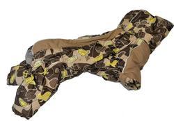ZooPrestige Комбинезон на флисе для таксы, беж/коричневый, размер ТМ1, спина 32-33см