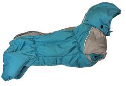 ZooPrestige Комбинезон на флисе для таксы, бирюзовый, размер ТМ1, спина 32-33см