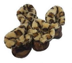 Al1 Сапожки для собак на меху леопард, бежевые, размер №5