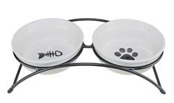 DOGMAN Миски для собак и кошек на подставке керамические 2х0,31л