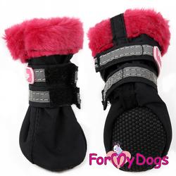 ForMyDogs Сапоги для маленьких собак, черно/красные, размер №3