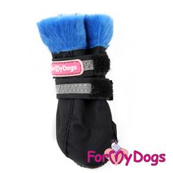 ForMyDogs Сапоги для маленьких собак, черно/синие, размер №0