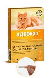 Bayer Адвокат антипаразитарный препарат для кошек до 4кг 3пипетки*0,4мл