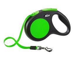 Flexi Рулетка New Neon M (до 25 кг) лента 5 м, зеленый
