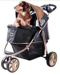 IBBI Коляска Monarch Premium для собак и кошек до 28 кг темно-золотой