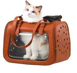 IBBI Складная сумка-переноска для собак и кошек до 6 кг прозрачная/коричневая кожа