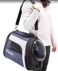 IBBI Складная сумка-переноска с окном для собак и кошек до 8 кг синий-серый