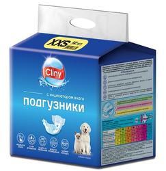Cliny Подгузники для собак и кошек 1-2,5 кг размер XXS (12шт)