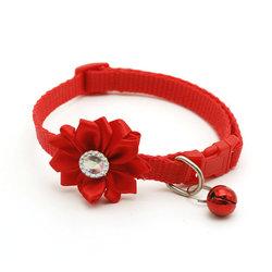 Al1 Ошейник для кошек красный с цветком и бубенчиком, размер 19-32см