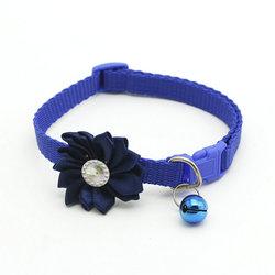 Al1 Ошейник для кошек синий с цветком и бубенчиком, размер 19-32см