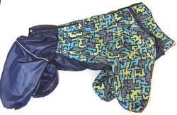 ZooTrend Дождевик для больших пород собак, синий тетрис, размер 6XL, спина 72см