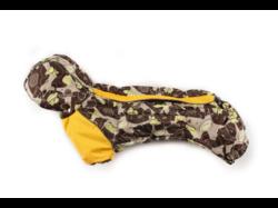ZooPrestige Комбинезон на флисе для таксы, беж/коричневый, размер ТМ2, спина 40см