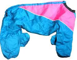 Бобровый дворик Комбинезон для крупных собак, девочка, малина/голубой, спина 80-84см