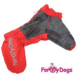 ForMyDogs Комбинезон для крупных собак на меховой подкладке, красный/серый, модель для девочек, размер D3