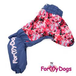 ForMyDogs Комбинезон для собак на меховой подкладке, фиолетово/розовый, модель для девочек, размер С3