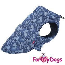 """ForMyDogs Попона для крупных собак """"Камуфляж"""" синяя, размер D3"""