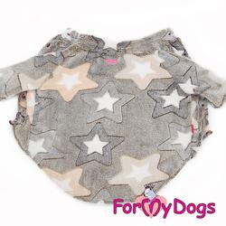 """ForMyDogs Джемпер для собак """"Звезды"""" бежевый из тонкого плюша, размер С3"""