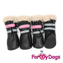 ForMyDogs Сапоги для собак из дубленочки, цвет черный, размер №4