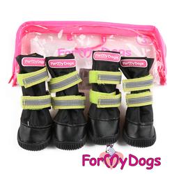 ForMyDogs Сапоги для крупных собак из нейлона с усиленной защитой от воды, черно/оранжевые, размер №7, №8