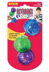 Kong Игрушка для собак Lock-It мячи для лакомств, 3 шт., d.5,7см