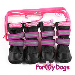 ForMyDogs Сапоги для крупных собак из нейлона с усиленной защитой от воды, черно/фиолетовые, размер №6, №7