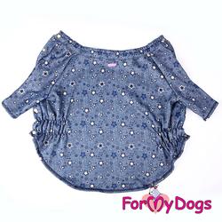 """ForMyDogs Джемпер для собак утепленный """"Джинс"""" синий, размер С1, С2, С3"""