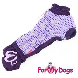 ForMyDogs Комбинезон для такс фиолетовый/горох, размер ТМ2, ТС1, ТС2, модель для девочек