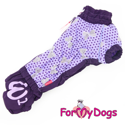 ForMyDogs Комбинезон для такс фиолетовый/горох, размер ТМ2, ТС1, модель для девочек