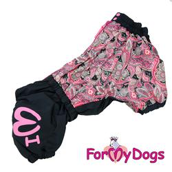 ForMyDogs Комбинезон для вельш-корги черно/розовый, модель для девочек, размер К43