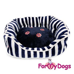 """ForMyDogs Лежак для собак мелких и средних пород """"Морской"""" сине/белый S, 50*60*17см"""