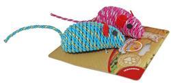 DOGMAN Игрушка для кошек Мышка гремящая плетеная 7см(2шт в уп)
