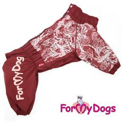 ForMyDogs Дождевик для больших пород собак бордо/белый, модель для девочки, размер С2, D3