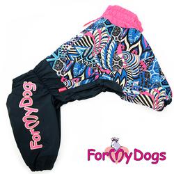 ForMyDogs Дождевик для больших пород собак черно/розовый, модель для девочки, размер С1, С3