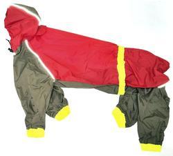 АНТ DefPet Дождевик для крупных пород собак, красный/хаки, размер Xl, спина 65см