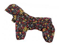 ZooAvtoritet Дождевик Дутик для средних пород собак, черный/стрелки, мембрана, размер 3XL, спина 45-48см