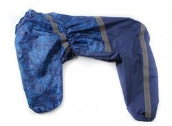 ZooAvtoritet Дождевик для Стаффорда, синий/цветы, спина 50-55см