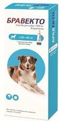 Intervet Бравекто капли спот-он от блох и клещей для собак 20 - 40 кг 1000 мг