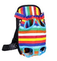 Al1 Рюкзак-переноска для собак цветной в полоску, размер S